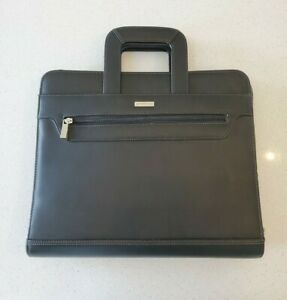 Franklin Covey Classic Top Grain Black Leather Planner 3 Ring Binder Briefcase