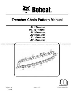 Bobcat Trencher Chain Pattern Revision 2013 Printed Service Manual 6903853