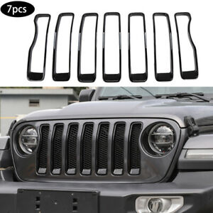 Exterior Front Grille Grill Inserts Cover Trim Frame For Jeep Wrangler Jl 2018