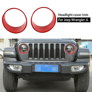 Red Headlight Cover Front Lamp Bezel Trim Decor For 2018 Jeep Wrangler Jl Pair