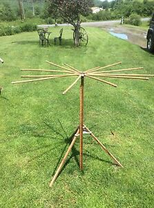Antique Wood Folding Clothes Drying Rack Spins Collapsible Country