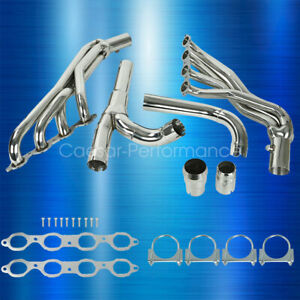 Fit Chevy Gmc 14 17 5 3l 6 2l Long Tube Stainless Steel Headers W Y Pipe