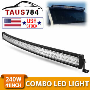 42inch 240w Curved Led Work Combo Flood Spot Light Bar Driving Atv 4wd Pk 40 44