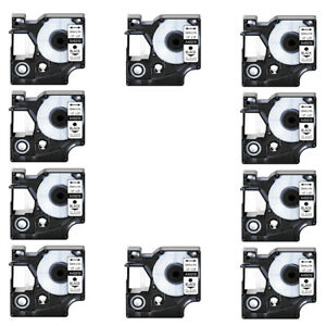 10pk Black On Clear Label Tape 1 2 12mm For Dymo D1 45010 12mm X 7m