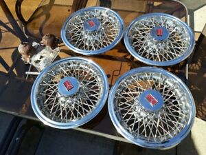 1981 87 Oldsmobile Cutlass Supreme Nos 14 Wire Spoke Hubcaps Wheel Covers Set