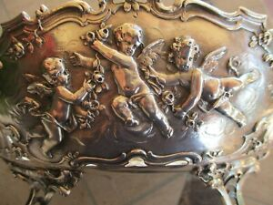Vintage German 930 Sterling Silver Cherubs Repousse Footed Oval Centerpiece