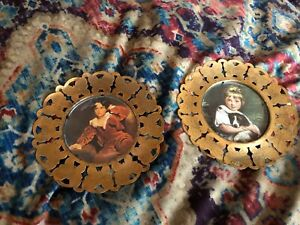 Vintage Young Boy Girl Small Round Pictures Brass Butterfly Frames England
