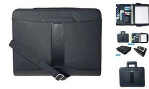 Briefcase Padfolio 3 Ring Binder File Faul Leather black 1 5 Ring dc3063