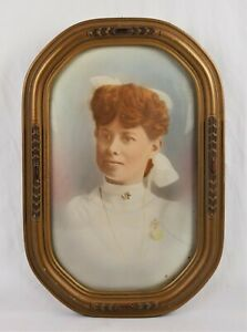 Antique Victorian Pastel Portrait Painting Woman Art Nouveau Convex Gesso Frame