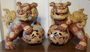 Very Old Pair Foo Fu Dragon Dog Quardian Shishi Lion Kutani Statues Figurines