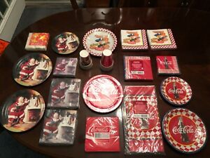 19 Piece Lot of Various  Coca Cola Coke Paper Cups Plates Napkins