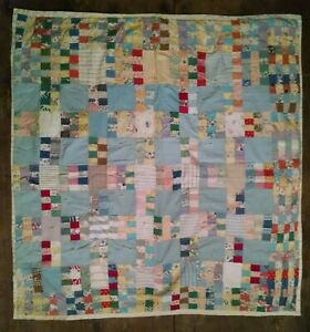 Vintage Hand Pieced Feed Sack Cloth Crib Quilt Baby Quilt 20 S 30 S