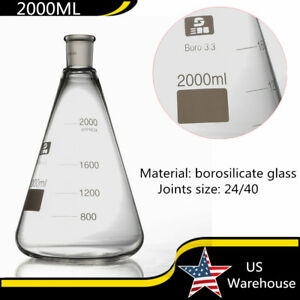 Borosilicate Glass Beaker Conical Flask Erlenmeyer 2000ml Lab Wine Container Usa
