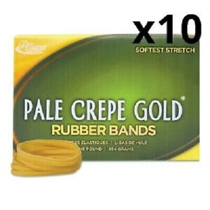 Pale Crepe Gold Rubber Bands Sz 33 3 1 2 X 1 8 1lb Box Pack Of 10