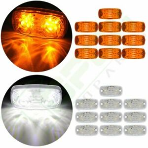 10x Amber Led 4 Inch Side Trailer Marker 12 Led Light For Lorry Truck 10x White