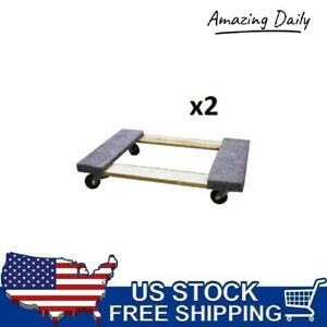 Set Of 2 Swivel Padded Sidewalls 18 X 30 Furniture Mover Dolly 660lbs Capacity