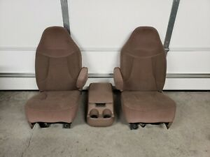 92 96 Ford Truck F150 250 Bronco Manual Buckets Seats Pair Mocha With Console