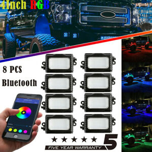 8 pod Rgb Led Rock Light Wireless Bluetooth Music Offroad Truck Utv Multi colol