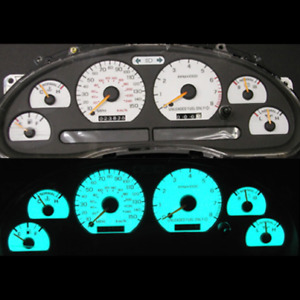1997 1998 Mustang Gt White Gauge Inlay Kit With 150 Mph Speedometer Color