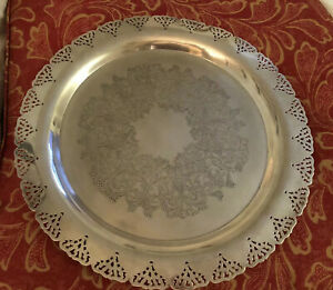 Vintage Round Silver Plate Tray Large Reticulated Platter 15 Scalloped