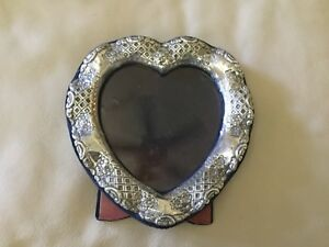 Antique Sterling Silver Repousse Heart Picture Photo Frame