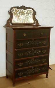 Antique Vintage Solid Wood Wooden Dresser Highboy Chest Vanity Beveled Mirror