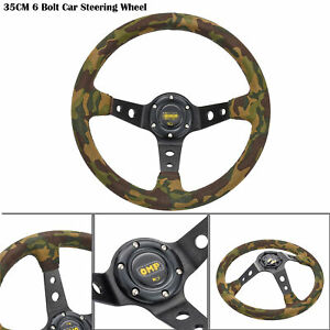 35cm 14inch 6 Bolt Racing Car Steering Wheel W Horn Button 95mm Deep Dish Cool