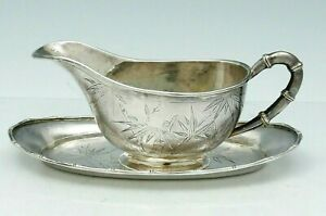 Tackhing Chinese Silver Gravy Boat With Undertray Bamboo Decoration