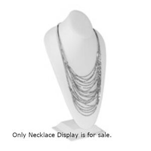 Standing Bust Necklace Display In White Leatherette 16 5 H X 5 B Inches