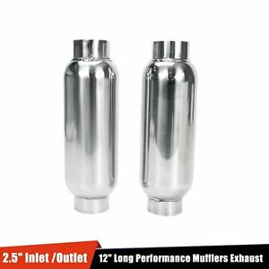 1pair Universal 2 5 Inlet Outlet Performance Mufflers Exhaust resonator Ss