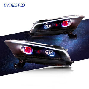 Demon Eyes Drl Led Projector Headlights Lamps For 2008 2012 Honda Accord