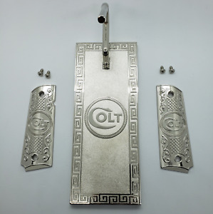 Custom Colt 1911 GRIPS Full Size Set COLT Gun Stand And Grips Nickel Plated $129.00