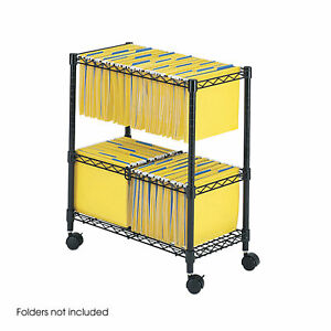 Safco Two tier Rolling File Cart In Black Finish 5278bl