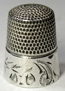 Antique Simons Bros Sterling Silver Thimble Folk Art Lily Of The Valley C1880
