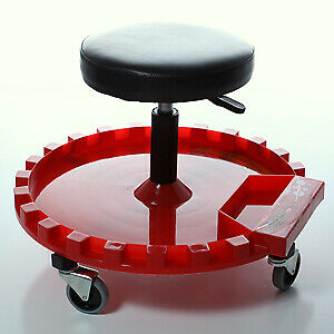 Round Button Cushion Rolling Creeper Seat With Tray Traxion Inc 2 210