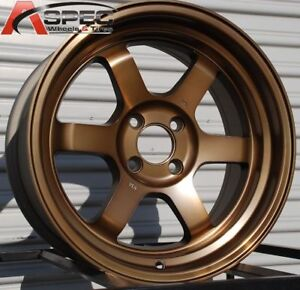 15x9 Rota Grid V Wheels 4x114 3 Rim 0mm Sport Bronze Color Set Of 4