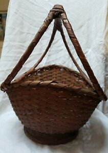 Large Antique Gathering Egg Basket Primitive Farmhouse Decor Unique Handle