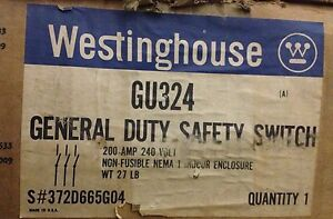Westinghouse Gu324 3 Pole 200 Amp 240 Volt Non fused Nema 1 Disconnect New