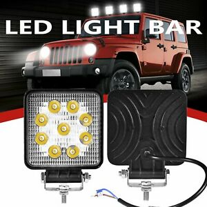 5 inch 12v White Led Work Light Bar Flood Pods Driving Off road Tractor 4wd
