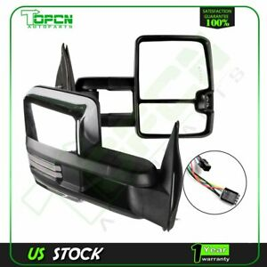 Tow Mirrors Chrome Power Heated Dynamic Led Signals For 99 02 Silverado Sierra
