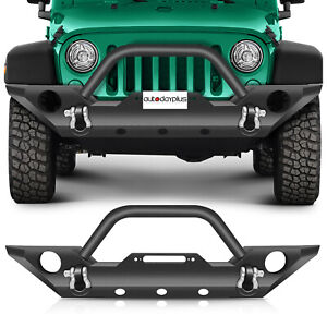 For Jeep Wrangler Jk 2007 2018 Textured Front Bumper Protector Guard Black