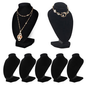 5 Lot Black Velvet Necklace Display Stands Store Pendant Jewelry Holder Rack