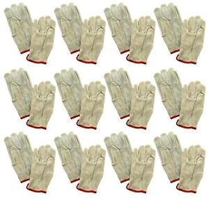 Lot Of 12 Pair Safety Gloves Goatskin Leather Durable Work Driver 48583 Grey Red