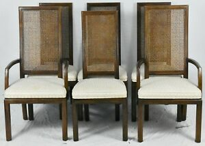 Set Of 6 Henredon Walnut Cane Back Dining Chairs With Upholstered Seats