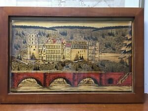 German Vintage Wood Hand Carved Painted Picture Black Forest Scene Large 38 X25