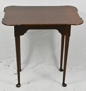 Eldred Wheeler Solid Cherry Porringer Queen Anne Side Table Tea Table