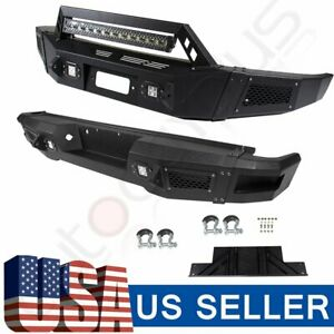 For Ford F 150 09 14 Steel Black Complete Front Rear Bumper Guard Led Lights