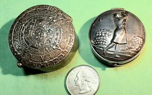 2 Sterling Silver Pill Snuff Boxes Beautiful Tops Total Weight 2oz