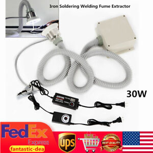 30w Iron Soldering Welding Fume Extractor Smoke Absorber Remover With Light 2in1