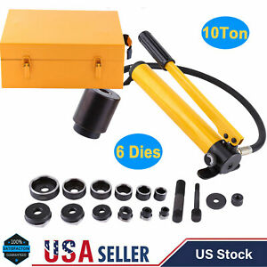 10 Ton Hydraulic Knockout Punch Hand Pump 6 Dies Hole Tool Driver Kit With Case